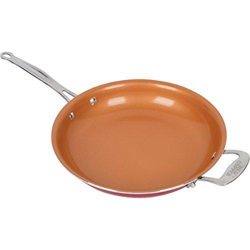 10 Inch Red Copper Fry Saute Pan Non Stick Icon Mover Q5